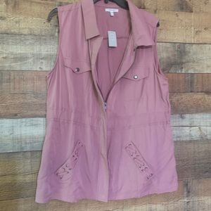 NWT Maurices dusty pink hip length vest, size XL